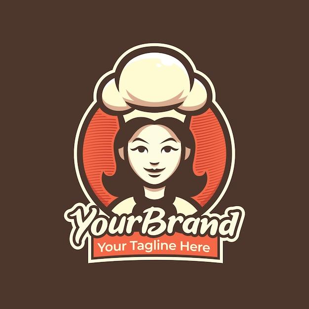 Logotipo de mulher chef para pastelaria, restaurante, café logo ilustração mascote Vetor Premium