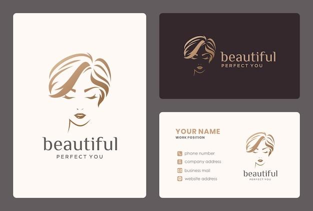 Logotipo de mulheres e cartão de visita para salão de beleza, cabeleireiro, reforma. Vetor Premium
