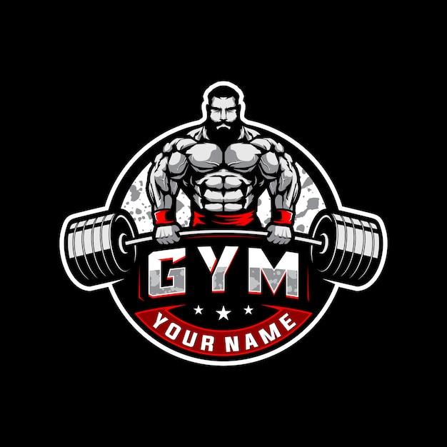 Logotipo de musculação e academia Vetor Premium