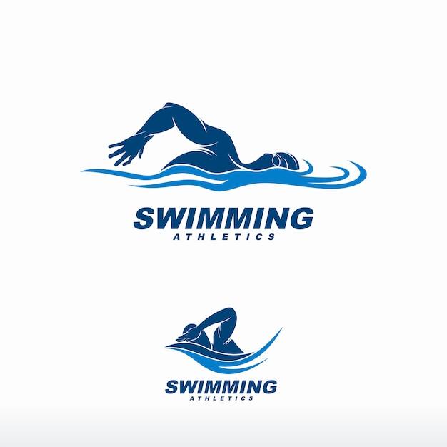 Logotipo de natação Vetor Premium