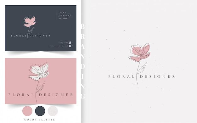Logotipo de negócios desgner floral. Vetor Premium