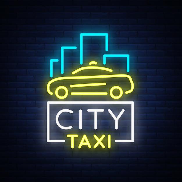 Logotipo de néon de táxi da cidade Vetor Premium