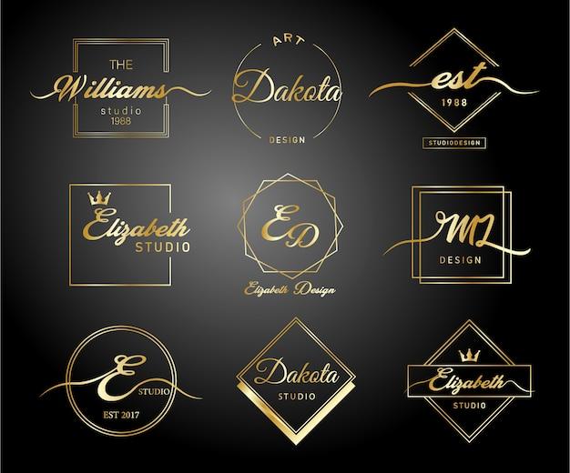 Logotipo de ouro gradiente de luxo Vetor Premium