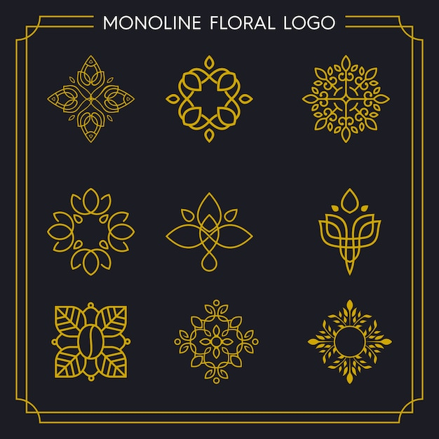 Logotipo de pacote monoline floral Vetor Premium