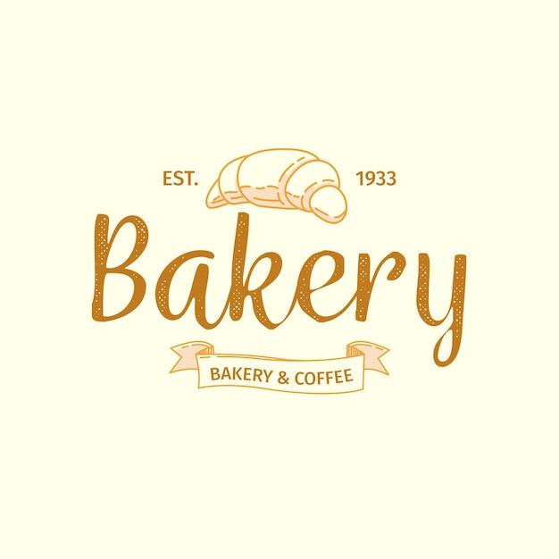 Logotipo de padaria com design retro e croissant Vetor grátis