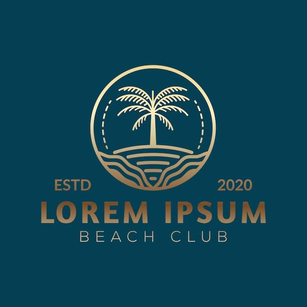 Logotipo de palmeira de luxo Vetor Premium