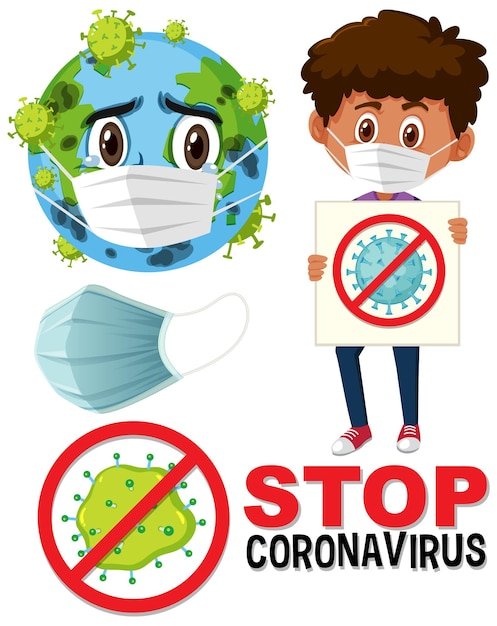 Logotipo de parada de coronavírus com personagem de desenho animado de máscara usando terra e menino segurando a placa de parada de coronavírus Vetor Premium