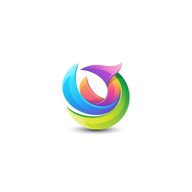 Logotipo de pássaro colorido abstrato Vetor Premium