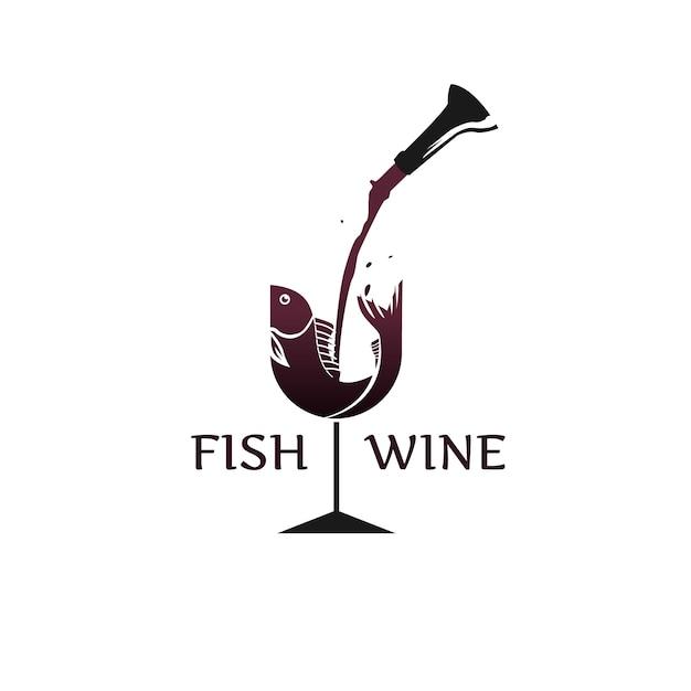 Logotipo de peixe e vinho Vetor Premium