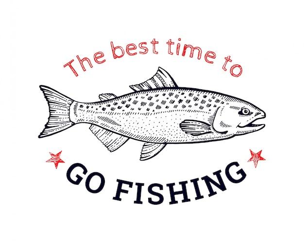 Logotipo de peixe salmão para impressão de t-shirt. estilo de desenho de mão desenhada arte de linha preta. Vetor Premium