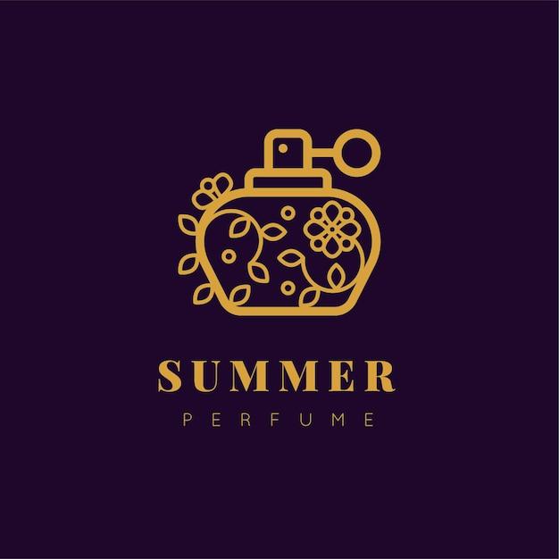 Logotipo de perfume floral design de luxo Vetor grátis