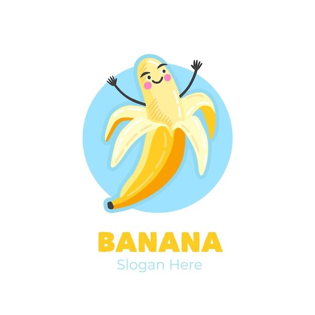 Logotipo de personagem banana vitoriosa Vetor grátis