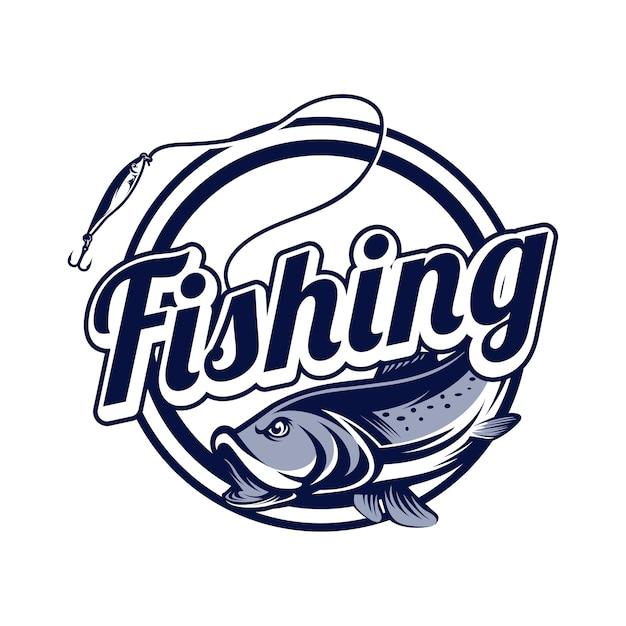 Logotipo de pesca Vetor Premium