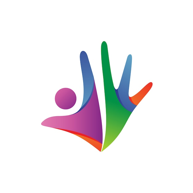 Logotipo de pessoas abstratas Vetor Premium