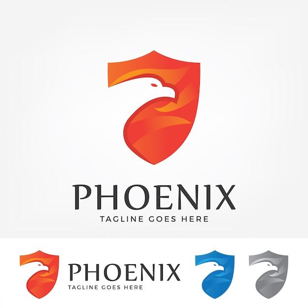 Logotipo de phoenix com forma de escudo. Vetor Premium