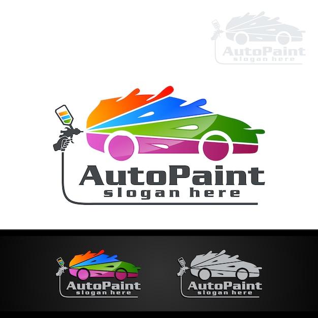 Logotipo de pintura de carro com pistola e conceito de carro esporte Vetor Premium