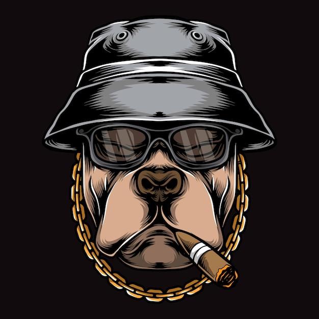 Logotipo de pitbull de fumar gangster Vetor Premium