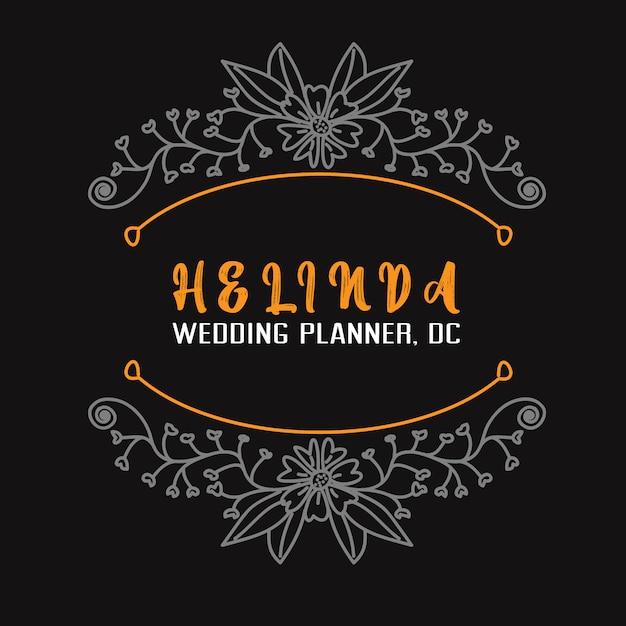 Logotipo de planejador de casamento e distintivo flor mão desenhada modelo Vetor Premium
