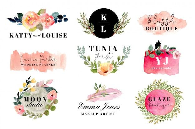 Logotipo de premade com floral e escova coleção aquarela de derrame. Vetor Premium