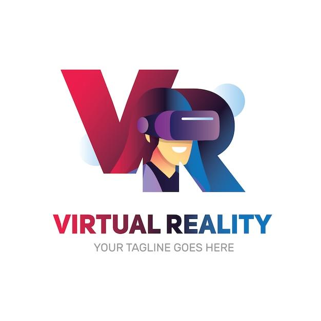 Logotipo de realidade virtual vr com forma de mulher dentro usando a caixa vr Vetor Premium