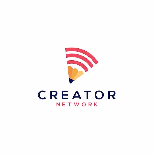 Logotipo de rede de lápis vector icon ilustração Vetor Premium
