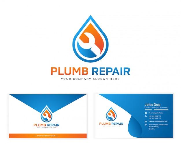 Logotipo de reparação de ameixa com cartão de visita de artigos de papelaria Vetor Premium