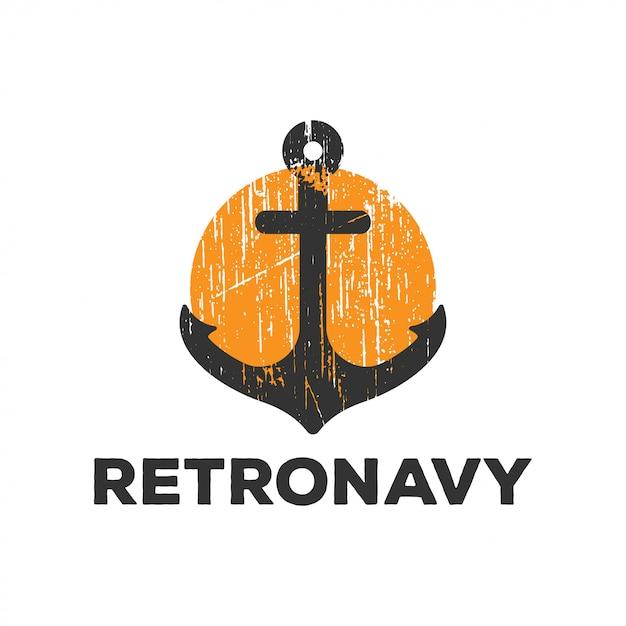 Logotipo de retrô âncora da marinha Vetor Premium