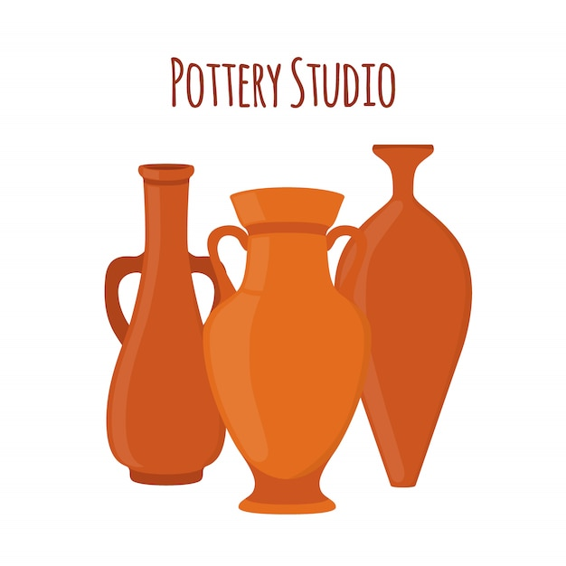 Logotipo de rótulo de estúdio de cerâmica Vetor Premium
