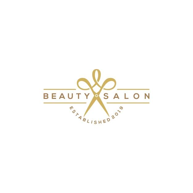 Logotipo de salão de corte de cabelo de beleza com tesoura Vetor Premium