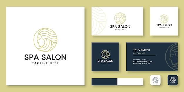 Logotipo de salão de spa com modelo de cartão de visita Vetor Premium