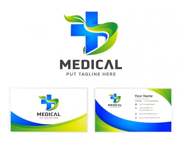 Logotipo de saúde médico para empresa com cartão Vetor Premium