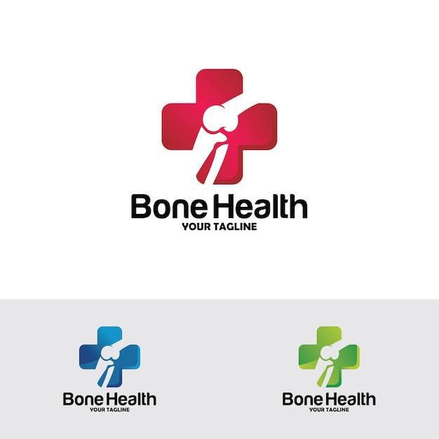 Logotipo de saúde óssea projeta conceito, tratamento ósseo Vetor Premium