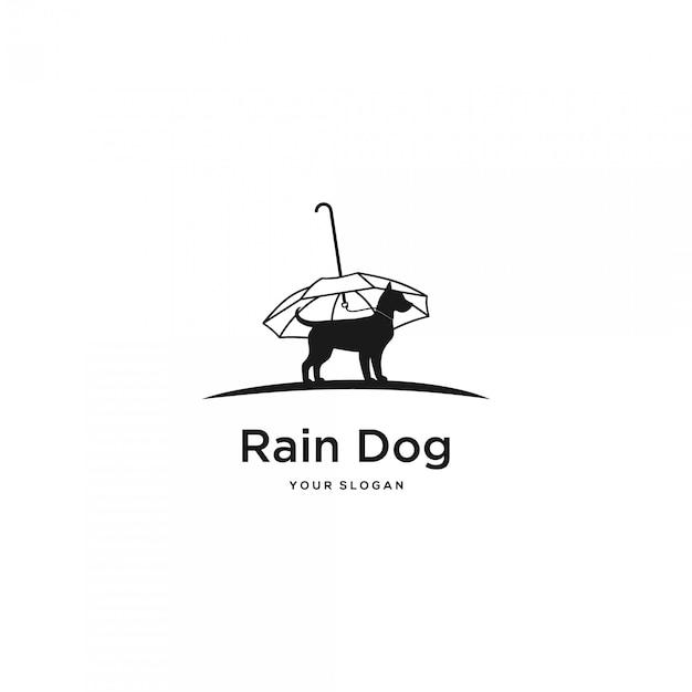 Logotipo de silhueta de cachorro chuva Vetor Premium