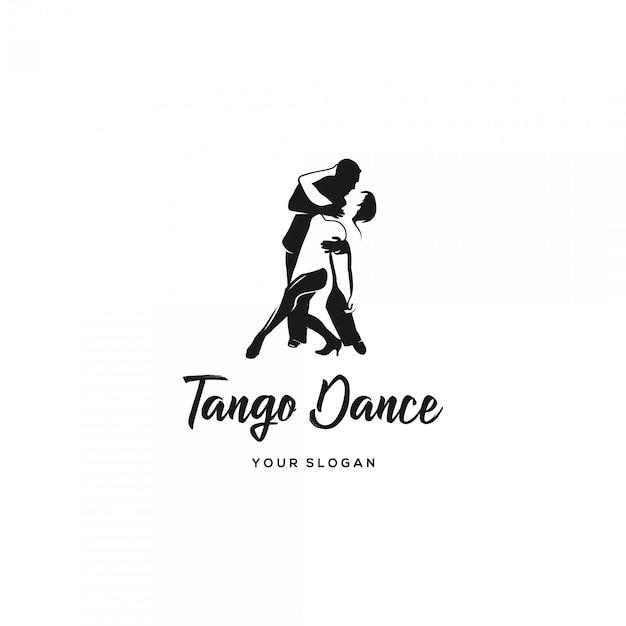 Logotipo de silhueta de dança tango Vetor Premium