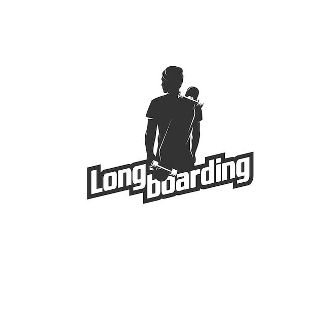 Logotipo de silhueta de homem de longboard Vetor Premium