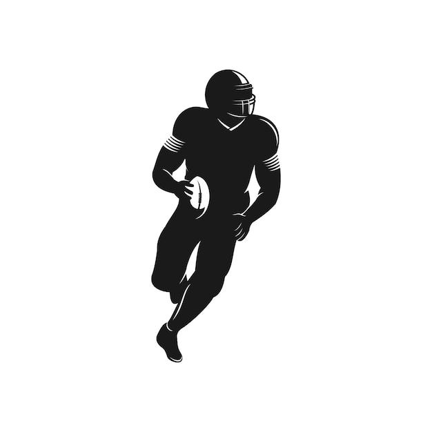 Logotipo de silhueta de jogador de futebol americano Vetor Premium