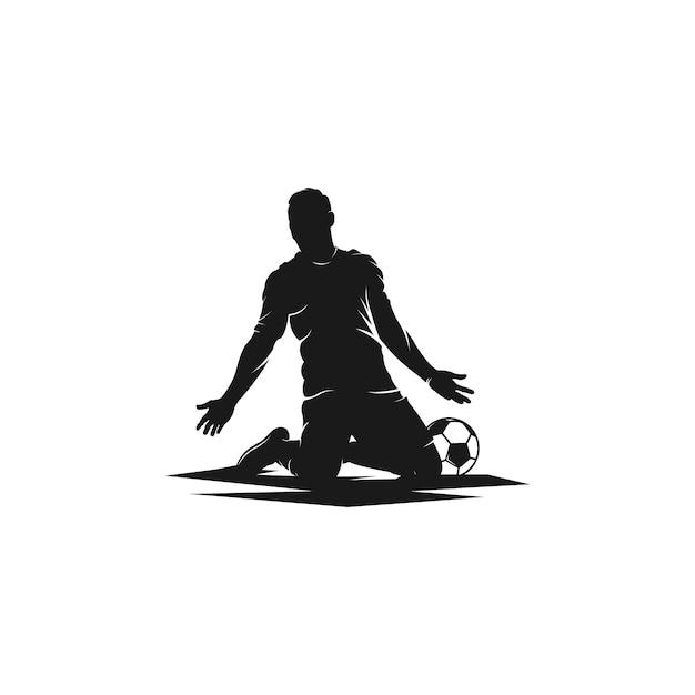 Logotipo de silhueta de jogador de futebol de celebrações Vetor Premium