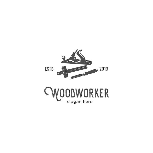 Logotipo de silhueta de trabalhador de madeira Vetor Premium