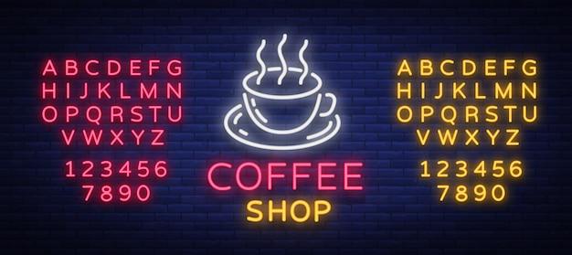 Logotipo de sinal de néon café Vetor Premium
