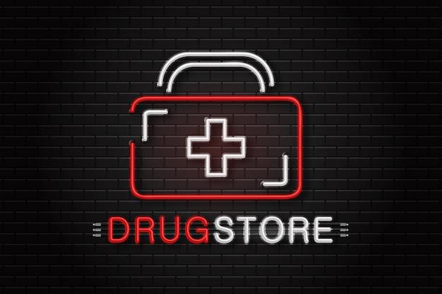 Logotipo de sinal de néon realista para drogaria para decoração no fundo da parede. Vetor Premium