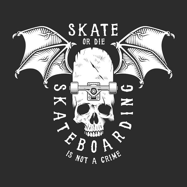 Logotipo de skate branco vintage Vetor grátis