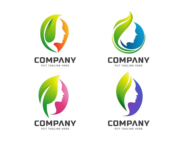 Logotipo de spa verde de beleza criativa Vetor Premium