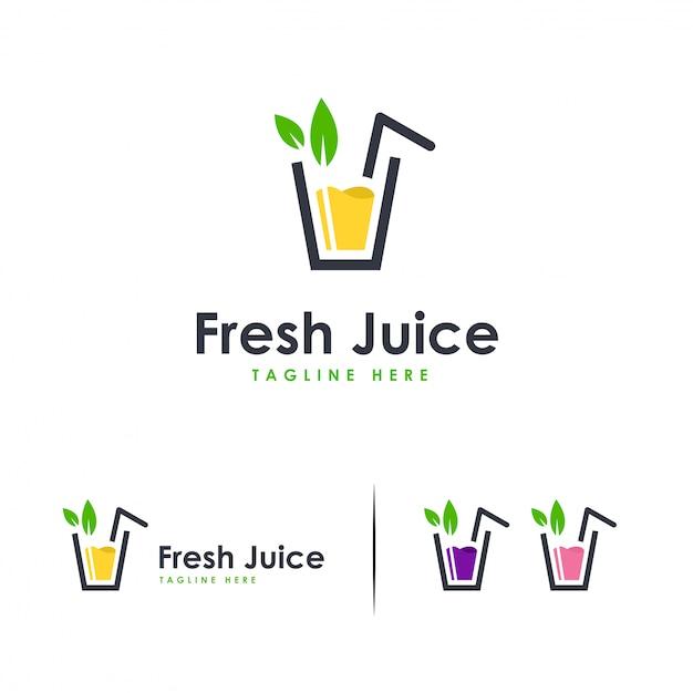 Logotipo de suco fresco, logotipo de bebida doce Vetor Premium