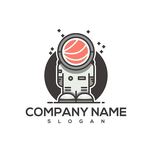 Logotipo de sushi de astronauta Vetor Premium