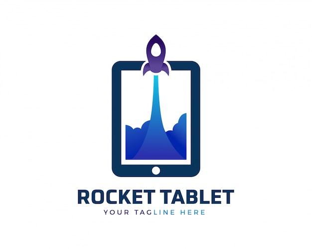 Logotipo de tablet de foguete criativo Vetor Premium