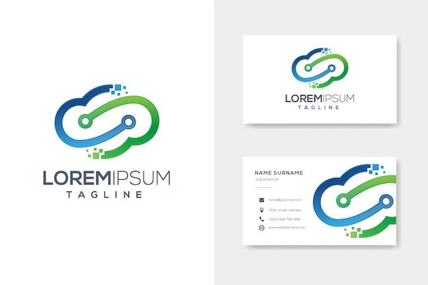 Logotipo de tecnologia azul nuvem verde com design de cartão de visita Vetor Premium