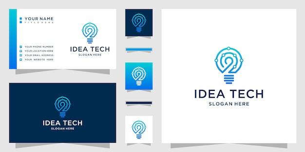 Logotipo de tecnologia de lâmpada criativa com ideias de lâmpada criativa e conceito de tecnologia Vetor Premium