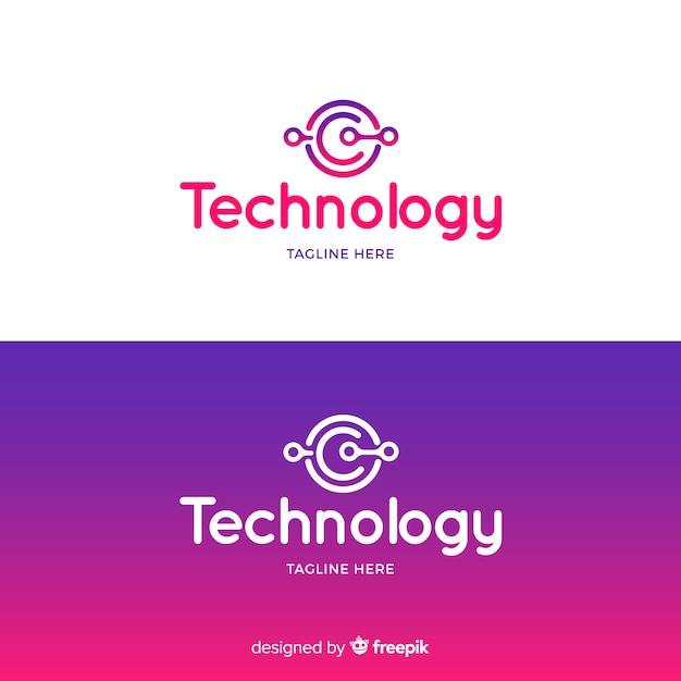 Logotipo de tecnologia em estilo gradiente Vetor grátis