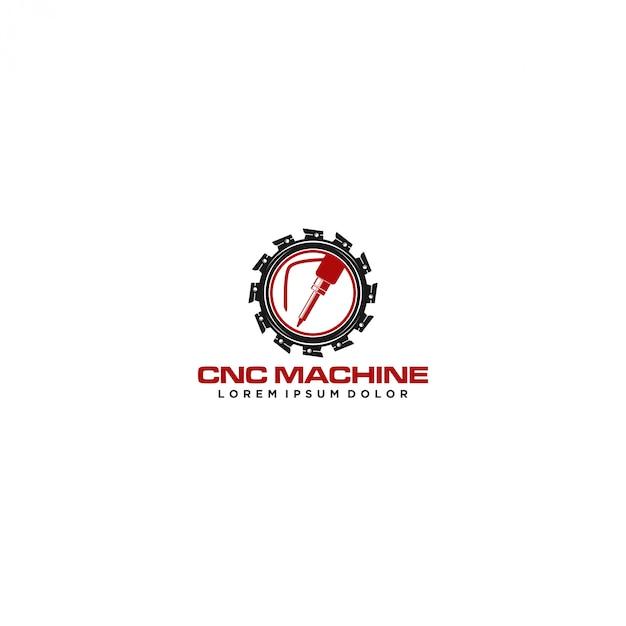 Logotipo de tecnologia moderna de máquina cnc Vetor Premium