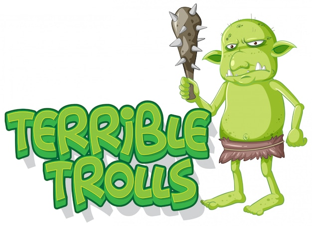 Logotipo de terríveis trolls em fundo branco Vetor grátis